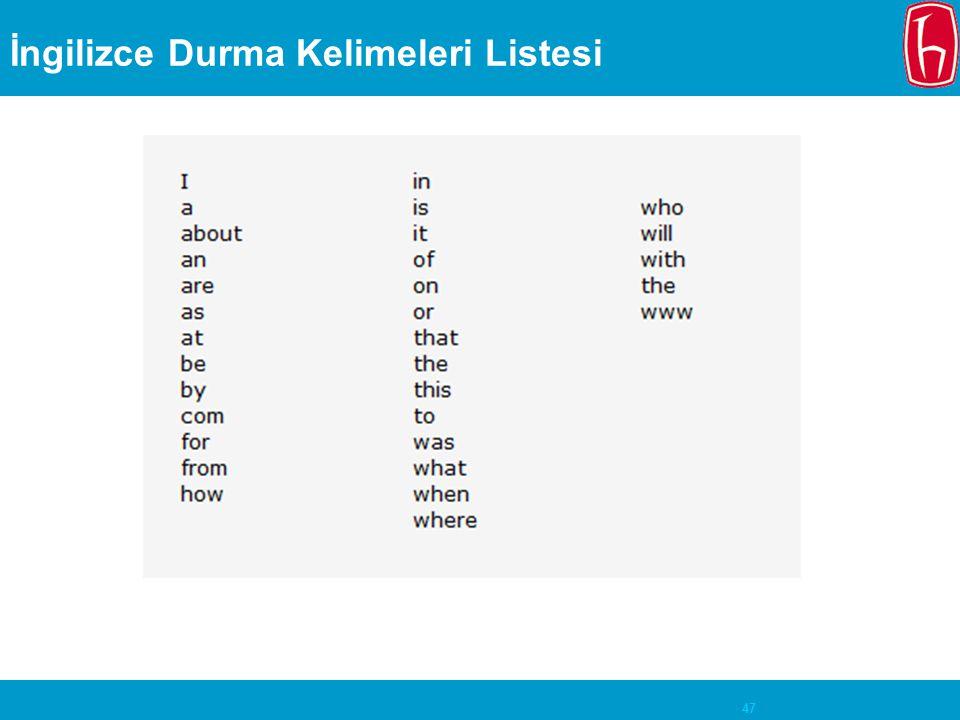 47 İngilizce Durma Kelimeleri Listesi