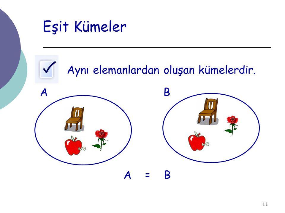 11 Eşit Kümeler Aynı elemanlardan oluşan kümelerdir. AB A = B