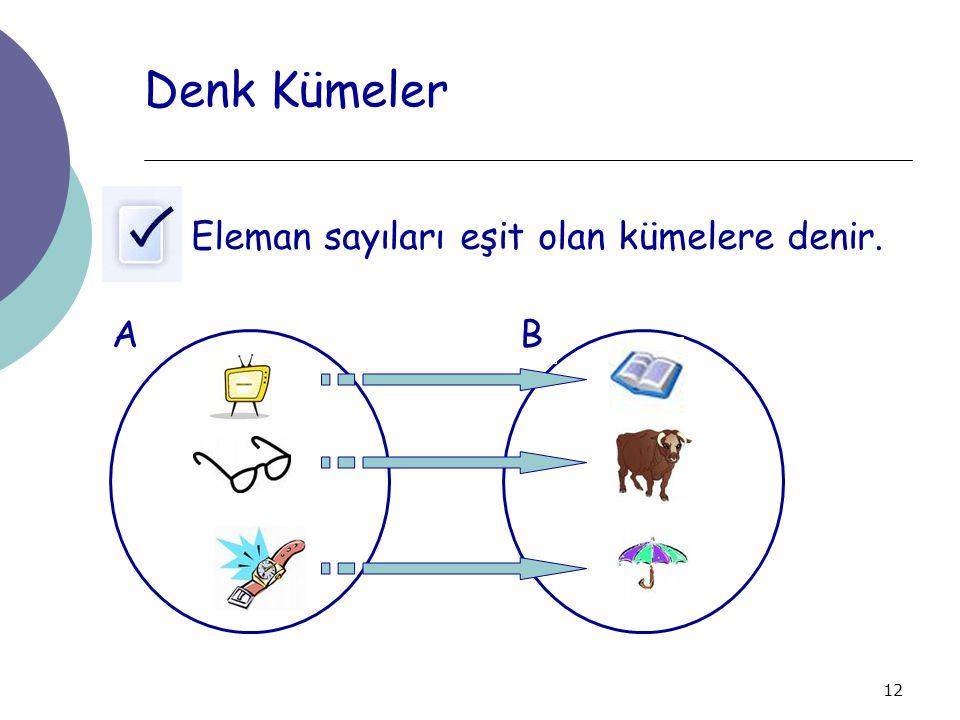 12 Denk Kümeler Eleman sayıları eşit olan kümelere denir. AB
