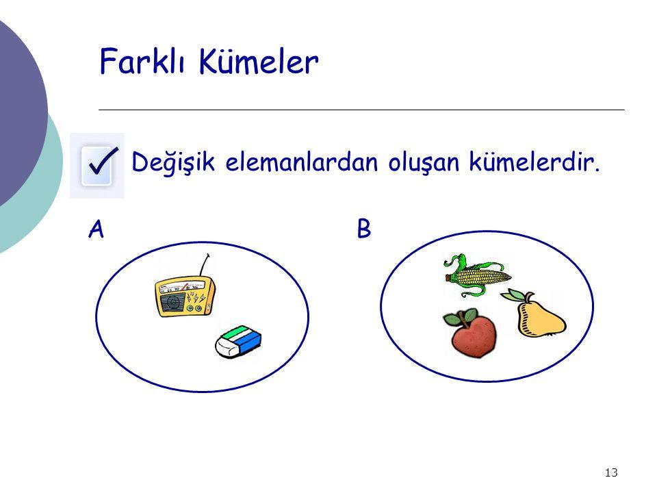 13 Farklı Kümeler Değişik elemanlardan oluşan kümelerdir. AB