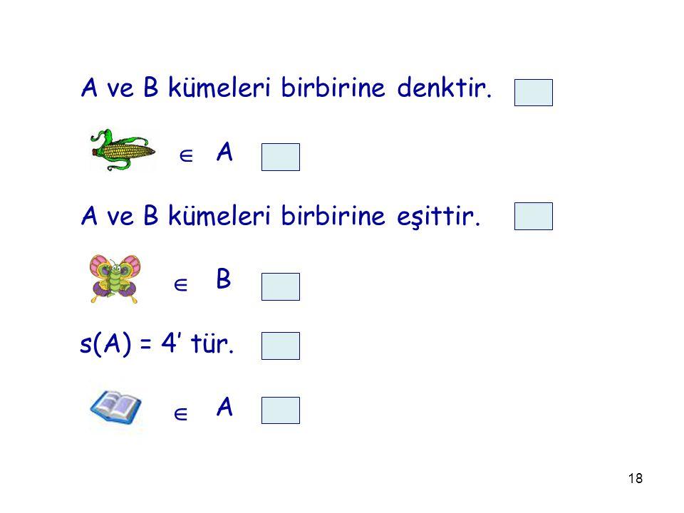 18 A ve B kümeleri birbirine denktir. A A ve B kümeleri birbirine eşittir. B s(A) = 4' tür. A   