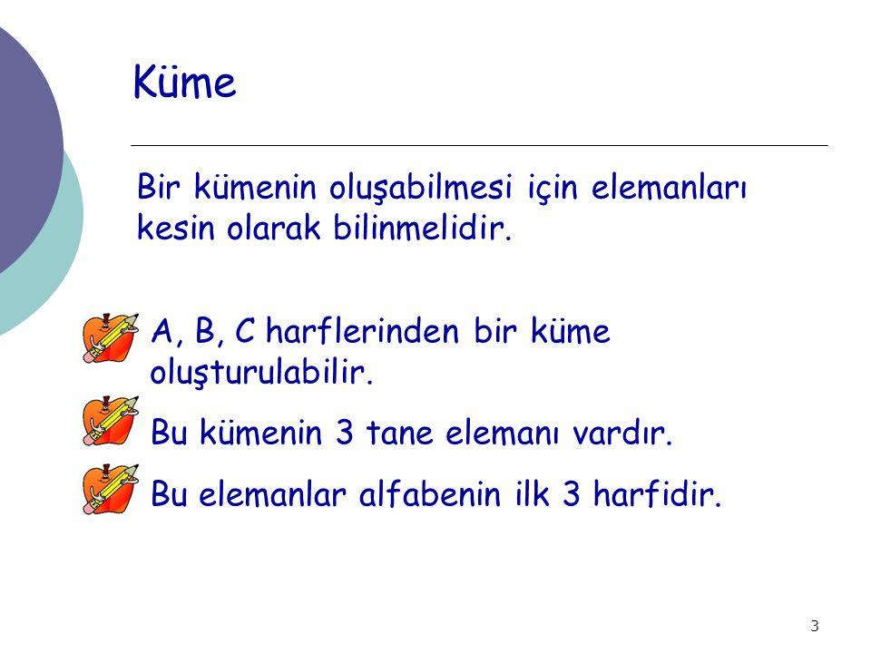 4 Kümelerin Gösterilmesi Kümeler A, B, C, gibi harflerle adlandırılır ve üç şekilde gösterilir.