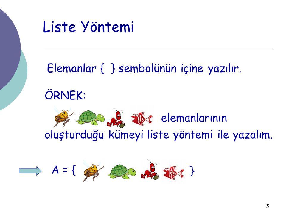5 Liste Yöntemi Elemanlar { } sembolünün içine yazılır. ÖRNEK: elemanlarının oluşturduğu kümeyi liste yöntemi ile yazalım. A = { }