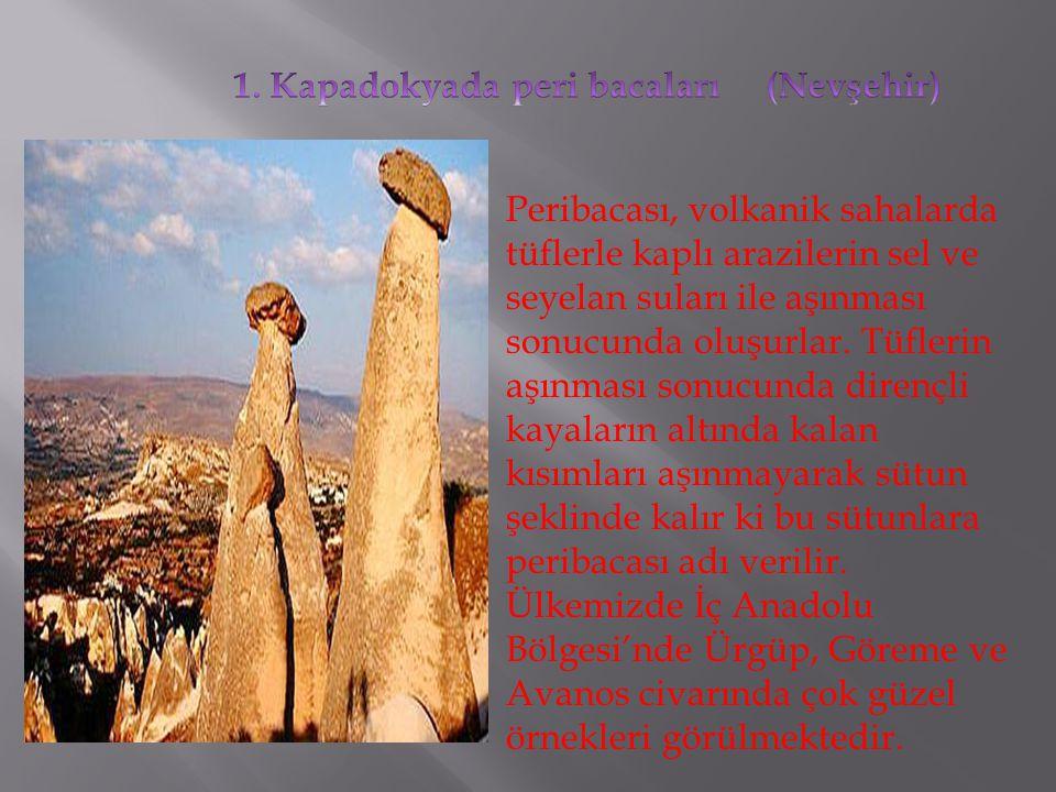 Peribacası, volkanik sahalarda tüflerle kaplı arazilerin sel ve seyelan suları ile aşınması sonucunda oluşurlar. Tüflerin aşınması sonucunda dirençli