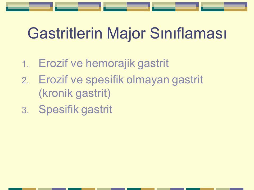 Gastritlerin Major Sınıflaması 1. Erozif ve hemorajik gastrit 2. Erozif ve spesifik olmayan gastrit (kronik gastrit) 3. Spesifik gastrit