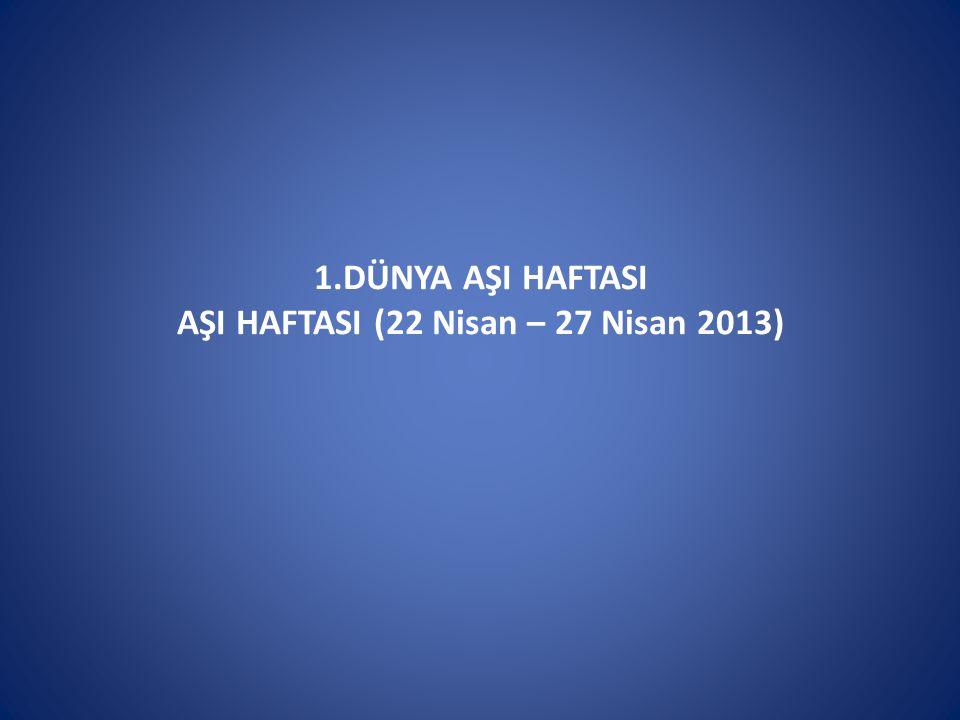 1.DÜNYA AŞI HAFTASI AŞI HAFTASI (22 Nisan – 27 Nisan 2013)