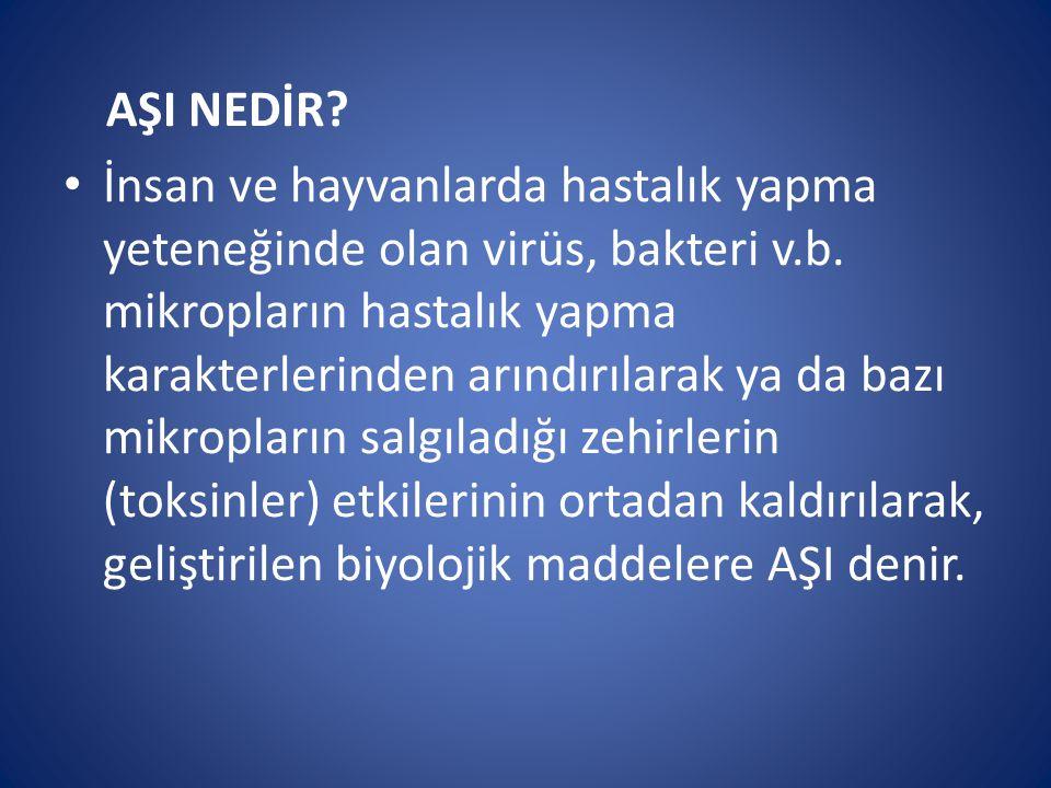AŞI NEDİR? İnsan ve hayvanlarda hastalık yapma yeteneğinde olan virüs, bakteri v.b. mikropların hastalık yapma karakterlerinden arındırılarak ya da ba