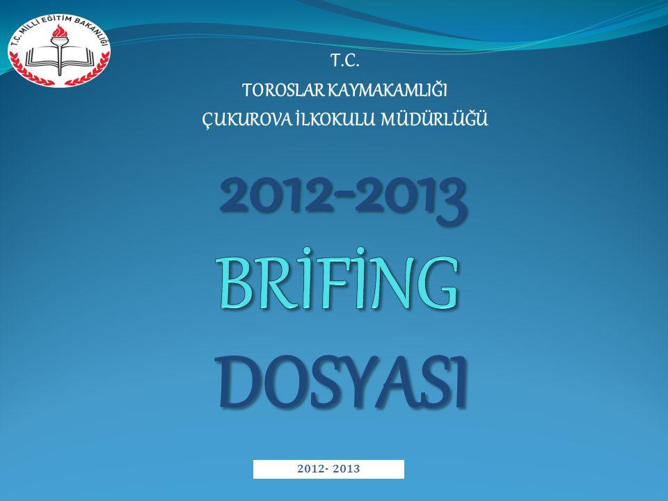 T.C. TOROSLAR KAYMAKAMLIĞI ÇUKUROVA İLKOKULU MÜDÜRLÜĞÜ DOSYASI 2012-2013 2012- 2013