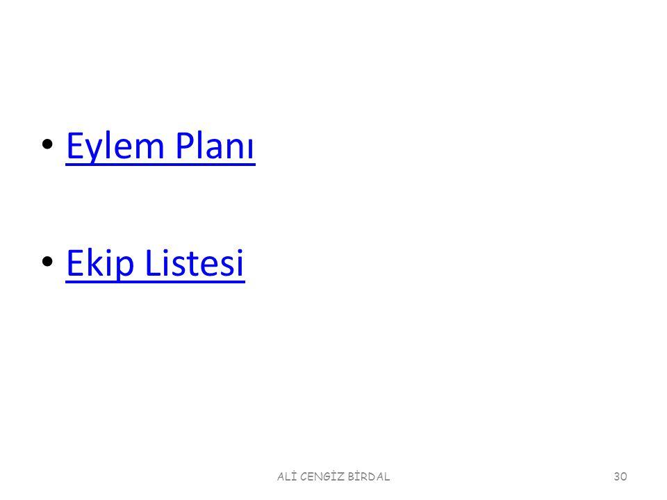 Eylem Planı Ekip Listesi ALİ CENGİZ BİRDAL30