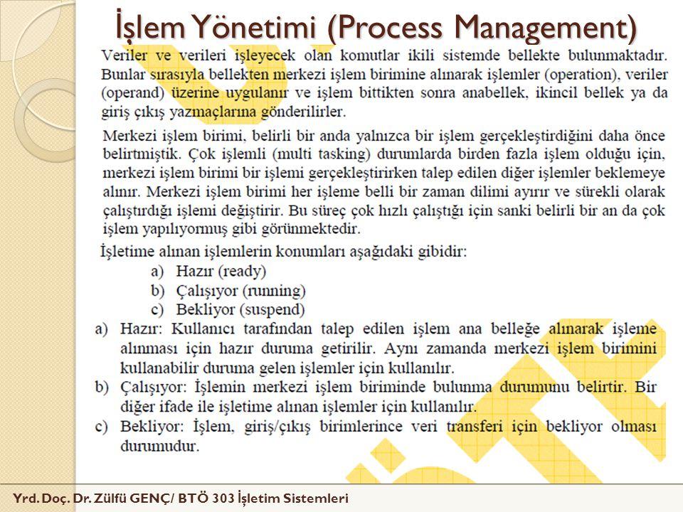 Yrd. Doç. Dr. Zülfü GENÇ/ BTÖ 303 İ şletim Sistemleri İ şlem Yönetimi (Process Management)