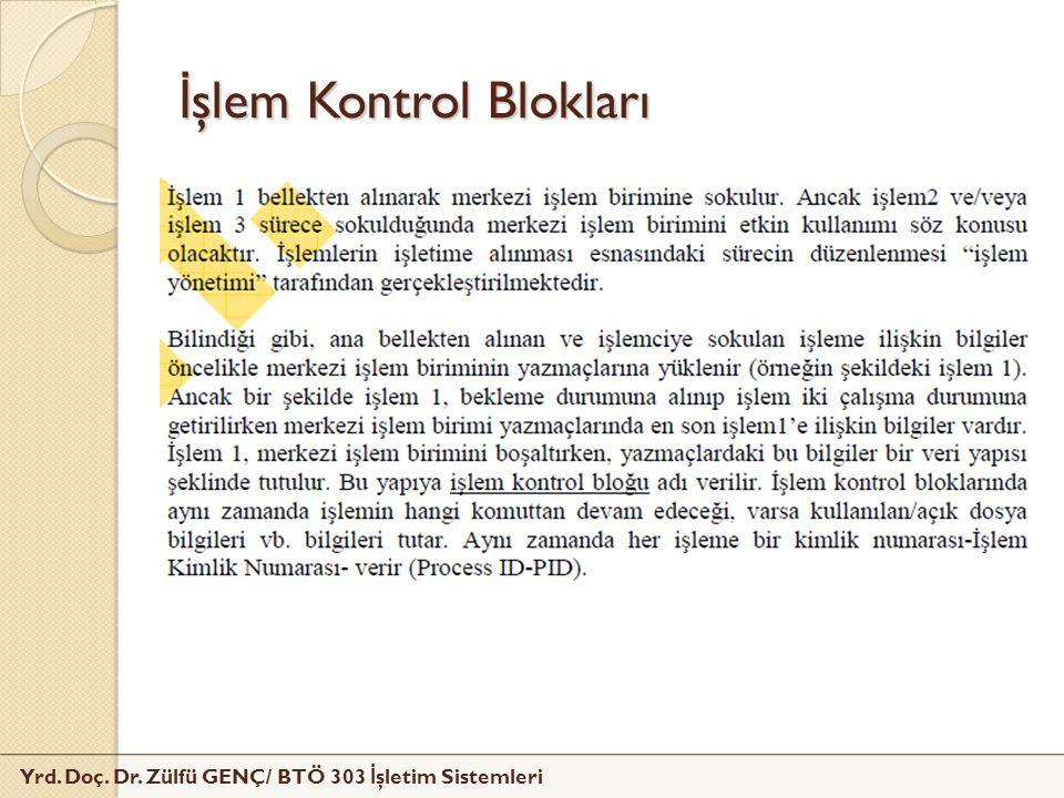 Yrd. Doç. Dr. Zülfü GENÇ/ BTÖ 303 İ şletim Sistemleri İ şlem Kontrol Blokları