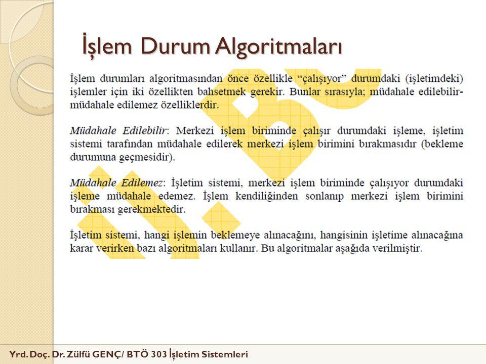 Yrd. Doç. Dr. Zülfü GENÇ/ BTÖ 303 İ şletim Sistemleri İ şlem Durum Algoritmaları
