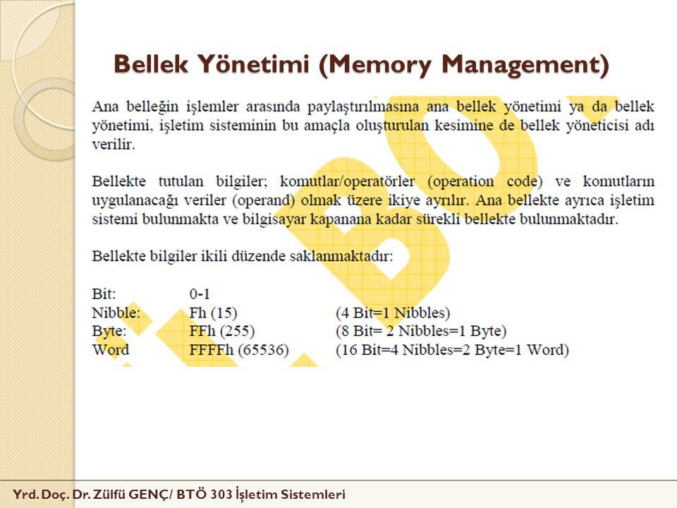 Yrd. Doç. Dr. Zülfü GENÇ/ BTÖ 303 İ şletim Sistemleri Bellek Yönetimi (Memory Management)
