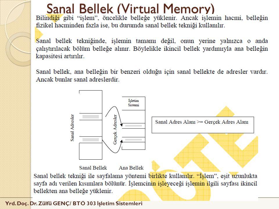 Yrd. Doç. Dr. Zülfü GENÇ/ BTÖ 303 İ şletim Sistemleri Sanal Bellek (Virtual Memory)
