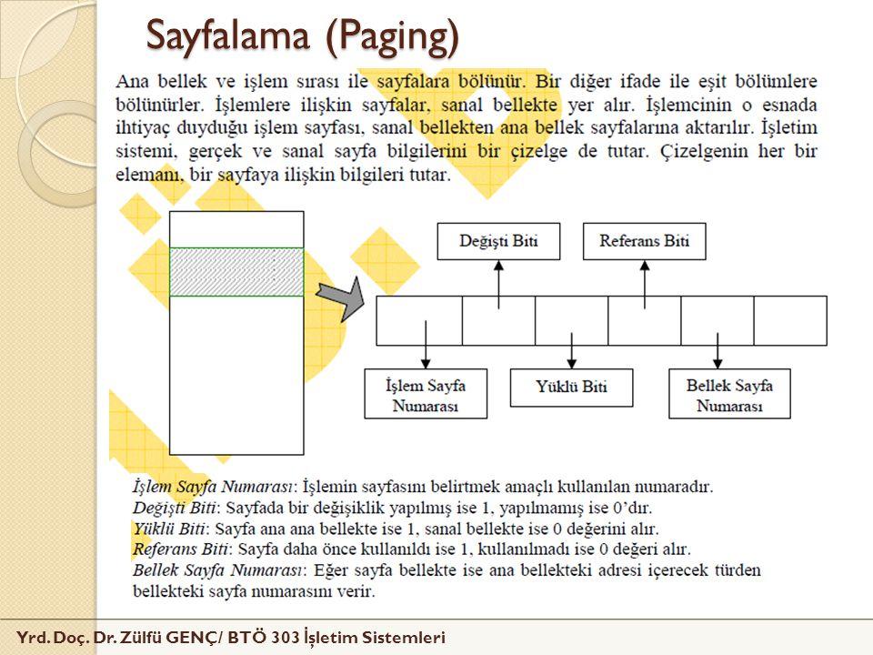 Yrd. Doç. Dr. Zülfü GENÇ/ BTÖ 303 İ şletim Sistemleri Sayfalama (Paging)