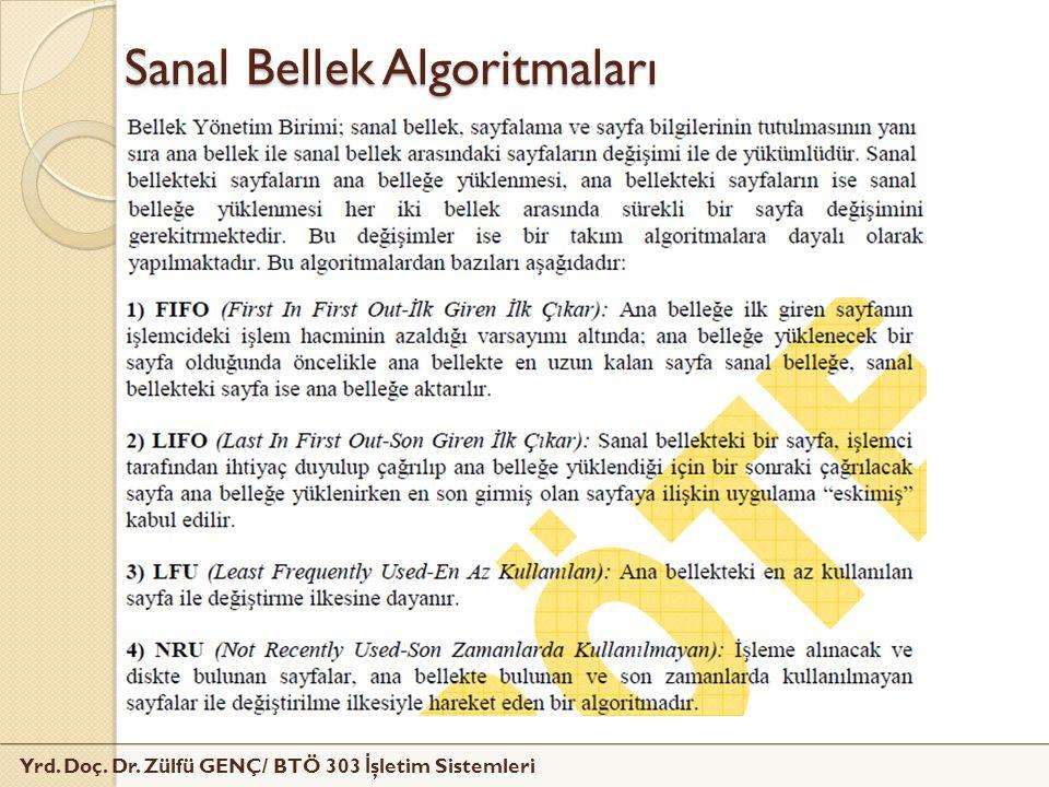 Yrd. Doç. Dr. Zülfü GENÇ/ BTÖ 303 İ şletim Sistemleri Sanal Bellek Algoritmaları