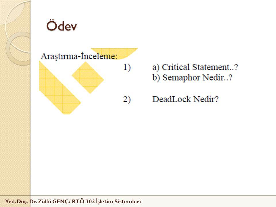 Yrd. Doç. Dr. Zülfü GENÇ/ BTÖ 303 İ şletim Sistemleri Ödev