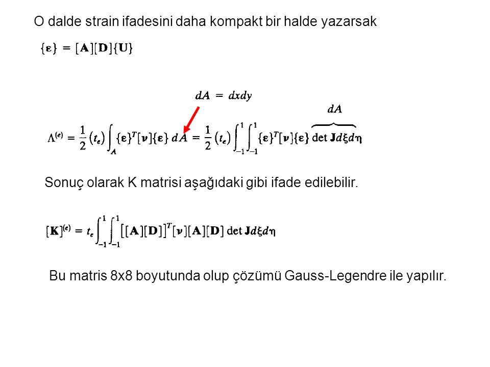 O dalde strain ifadesini daha kompakt bir halde yazarsak Sonuç olarak K matrisi aşağıdaki gibi ifade edilebilir.