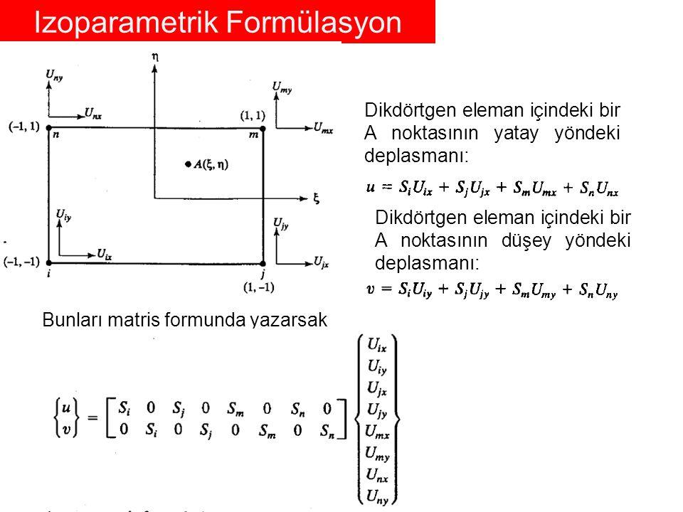Dikdörtgen eleman içindeki bir A noktasının yatay yöndeki koordinatı: Dikdörtgen eleman içindeki bir A noktasının düşey yöndeki koordinatı: Elemanla alakalı direngenlik matrisini bulurken deplasman değerleri olan u ve v değerlerinin x ve y ye göre türevlerine ihtiyaç vardır.