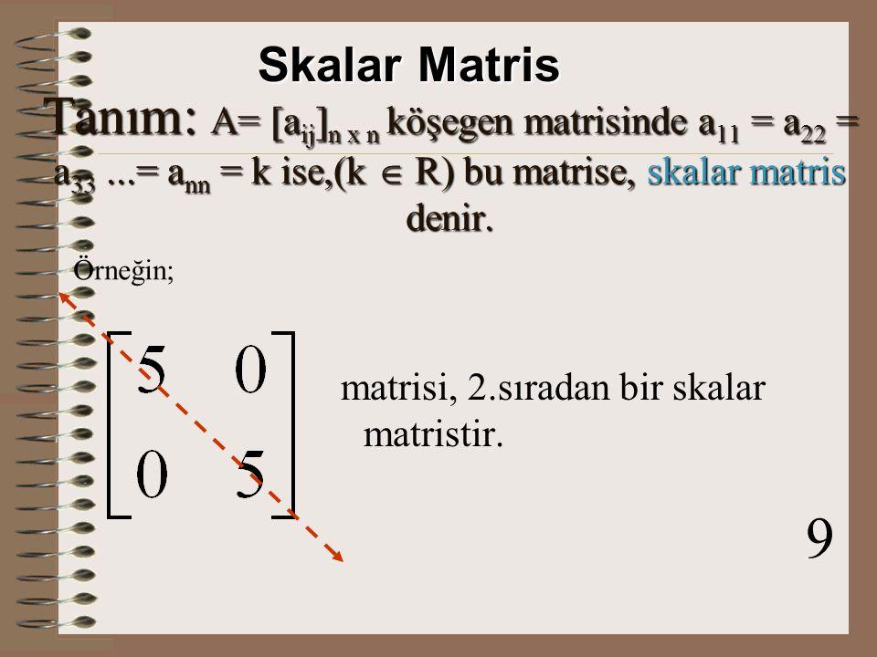 Tanım: A= [a ij ] n x n kare matrisinde asal köşegen üzerindeki elemanların sıfır ise, bu tip kare matrise, köşegen matris denir.