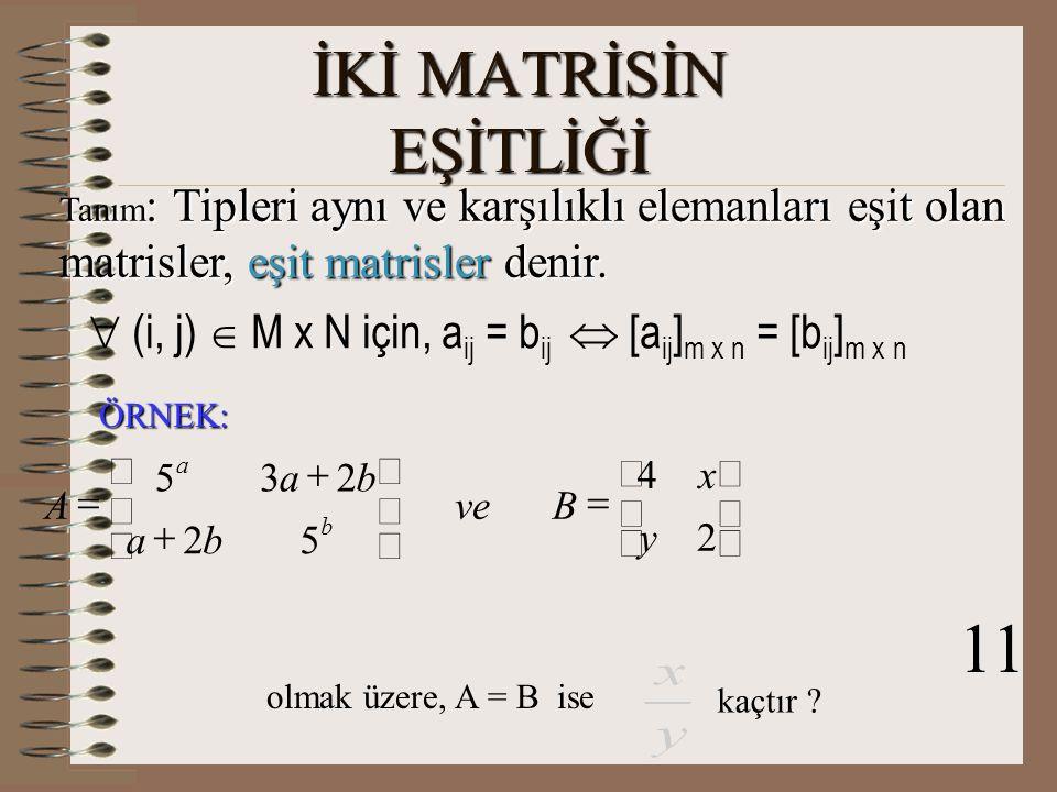 Tanım : Asal köşegen üzerindeki elemanları bir, diğer elemanları sıfır olan kare matrise, birim matris denir.