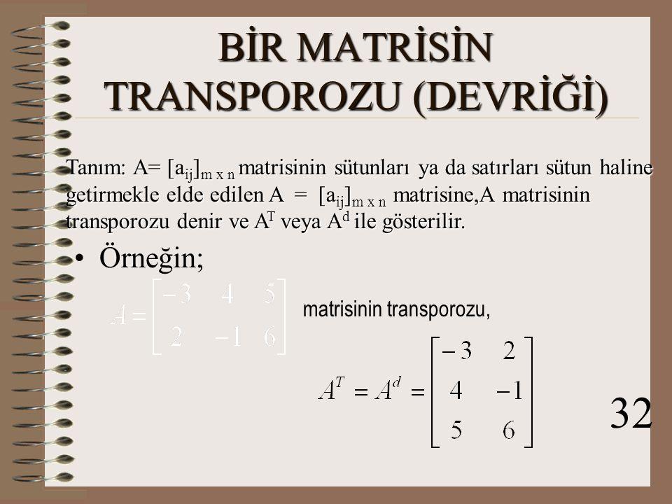 ÇARPMA İŞLEMİNE GÖRE TERS MATRİSLERİN ÖZELLİKLERİ 1.k  R-  0  olmak üzere, n.sıradan bir A kare matrisinin 1.