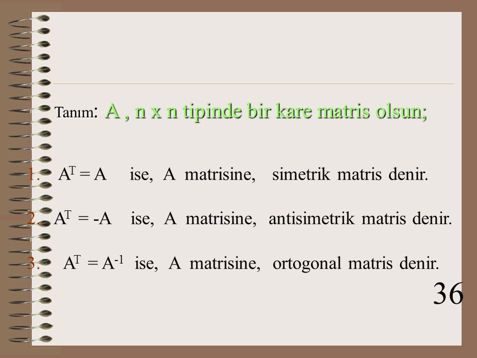 Teorem: A tersi olan bir matris ise, (A T ) -1 =(A -1 ) T dir. Örnek : Çözüm: 35