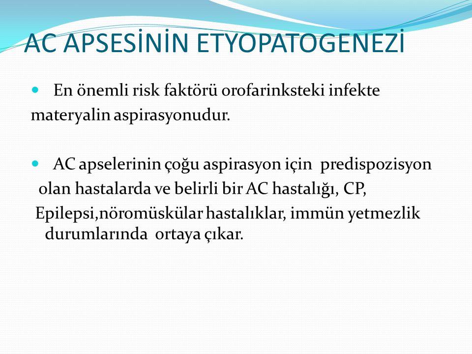 AC APSESİNİN ETYOPATOGENEZİ En önemli risk faktörü orofarinksteki infekte materyalin aspirasyonudur. AC apselerinin çoğu aspirasyon için predispozisyo