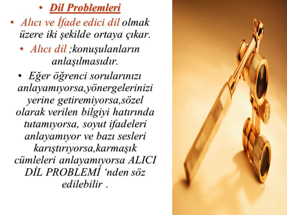 Dil ProblemleriDil Problemleri Alıcı ve İfade edici dil olmak üzere iki şekilde ortaya çıkar.Alıcı ve İfade edici dil olmak üzere iki şekilde ortaya ç