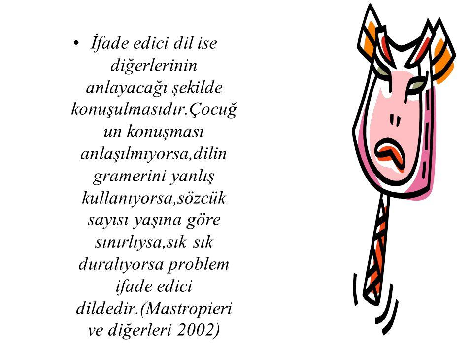 İfade edici dil ise diğerlerinin anlayacağı şekilde konuşulmasıdır.Çocuğ un konuşması anlaşılmıyorsa,dilin gramerini yanlış kullanıyorsa,sözcük sayısı