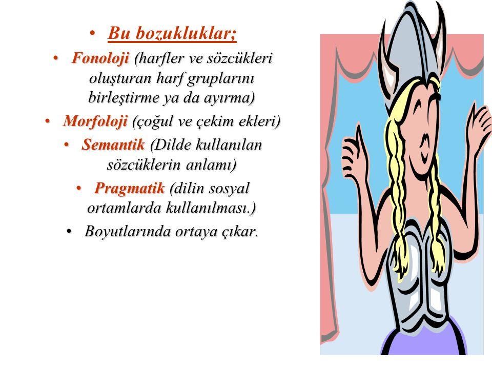 Bu bozukluklar; Fonoloji (harfler ve sözcükleri oluşturan harf gruplarını birleştirme ya da ayırma)Fonoloji (harfler ve sözcükleri oluşturan harf grup