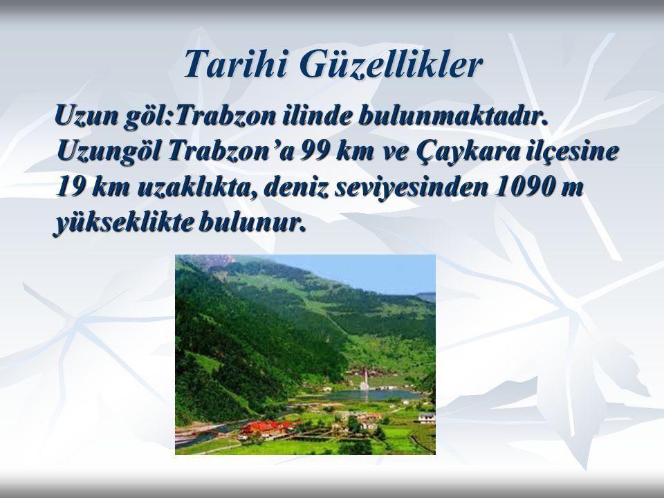 Tarihi Güzellikler Uzun göl:Trabzon ilinde bulunmaktadır. Uzungöl Trabzon'a 99 km ve Çaykara ilçesine 19 km uzaklıkta, deniz seviyesinden 1090 m yükse