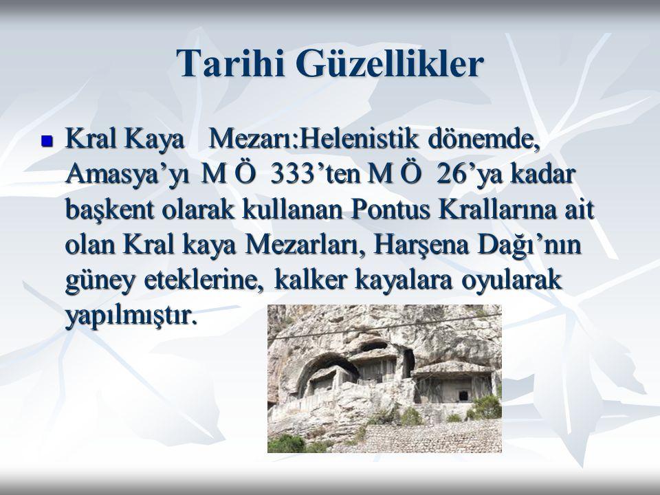 Tarihi Güzellikler Kral Kaya Mezarı:Helenistik dönemde, Amasya'yı M Ö 333'ten M Ö 26'ya kadar başkent olarak kullanan Pontus Krallarına ait olan Kral kaya Mezarları, Harşena Dağı'nın güney eteklerine, kalker kayalara oyularak yapılmıştır.