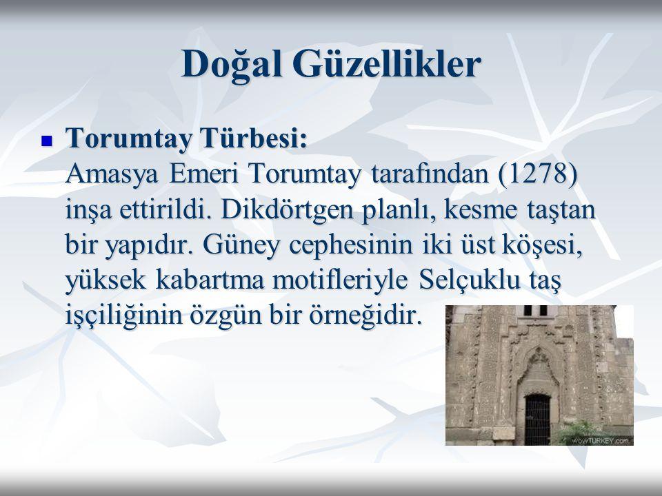 Doğal Güzellikler Torumtay Türbesi: Amasya Emeri Torumtay tarafından (1278) inşa ettirildi. Dikdörtgen planlı, kesme taştan bir yapıdır. Güney cephesi