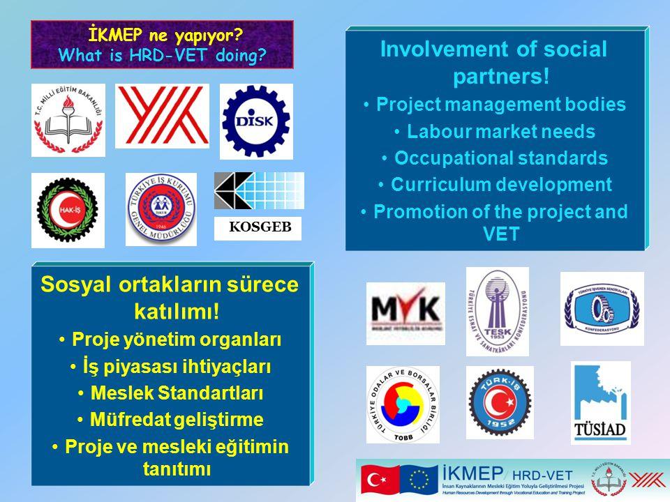 Sosyal ortakların sürece katılımı! Proje yönetim organları İş piyasası ihtiyaçları Meslek Standartları Müfredat geliştirme Proje ve mesleki eğitimin t