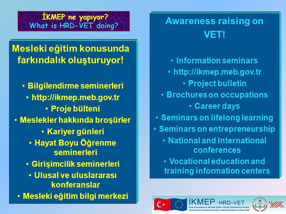 Mesleki eğitim konusunda farkındalık oluşturuyor! Bilgilendirme seminerleri http://ikmep.meb.gov.tr Proje bülteni Meslekler hakkında broşürler Kariyer