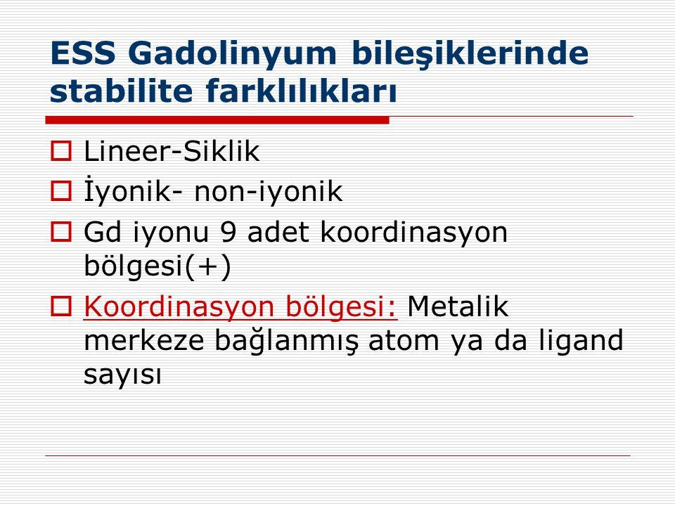ESS Gadolinyum bileşiklerinde stabilite farklılıkları  Lineer-Siklik  İyonik- non-iyonik  Gd iyonu 9 adet koordinasyon bölgesi(+)  Koordinasyon bö