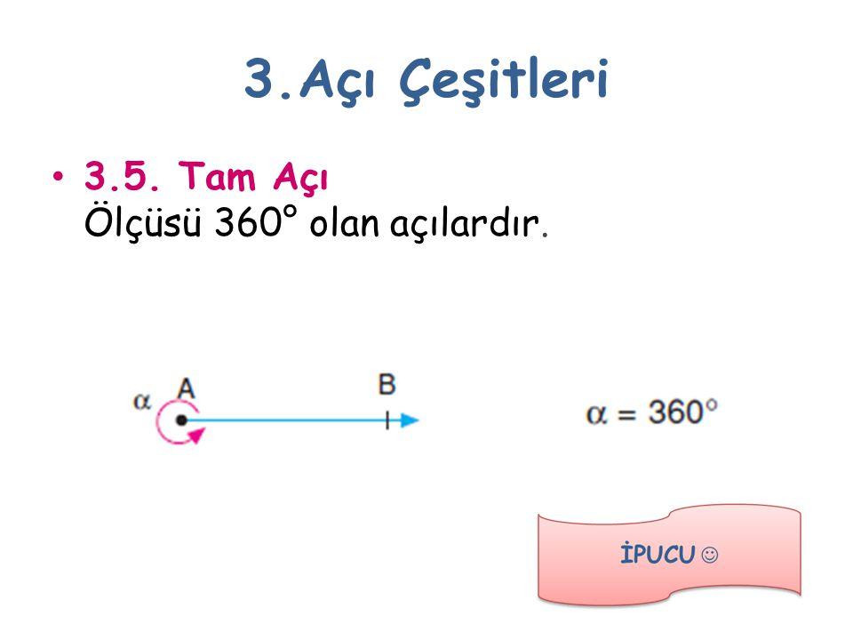 3.Açı Çeşitleri 3.5. Tam Açı Ölçüsü 360° olan açılardır.