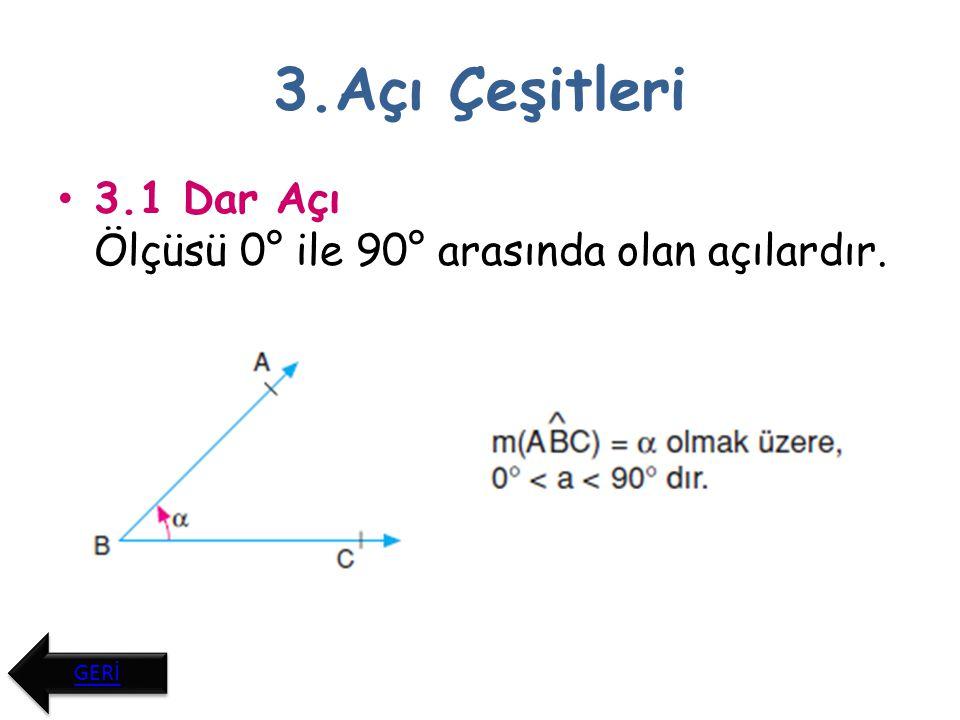 3.Açı Çeşitleri 3.2. Dik Açı Ölçüsü 90° olan açılardır. GERİ