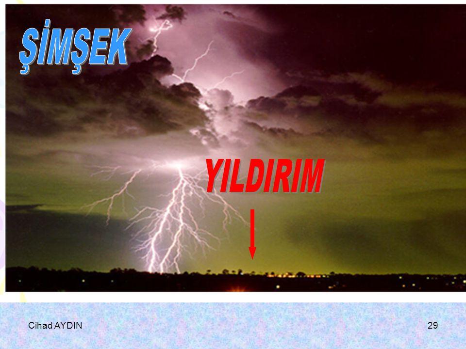 Cihad AYDIN28 Şimşek:Farklı yüklü iki bulut arsında elektrik akımına şimşek denir. Yıldırım: Yüklü bulut ile yeryüzü arasında elektrik boşalmasına yıl