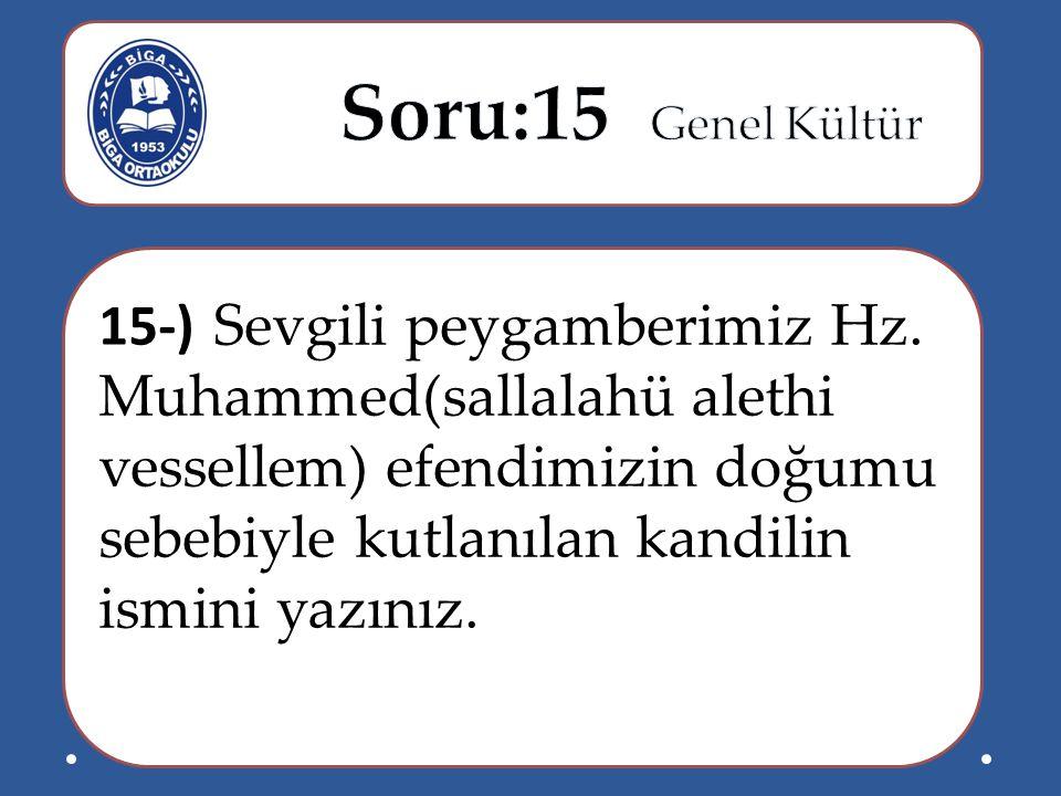 15-) Sevgili peygamberimiz Hz. Muhammed(sallalahü alethi vessellem) efendimizin doğumu sebebiyle kutlanılan kandilin ismini yazınız.