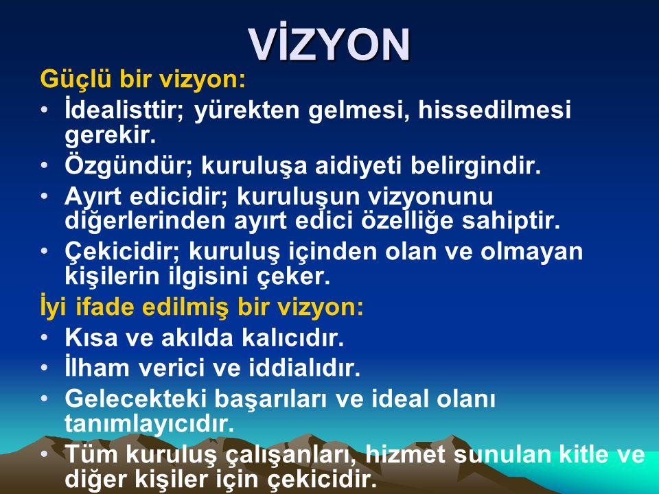 VİZYON Güçlü bir vizyon: İdealisttir; yürekten gelmesi, hissedilmesi gerekir. Özgündür; kuruluşa aidiyeti belirgindir. Ayırt edicidir; kuruluşun vizyo