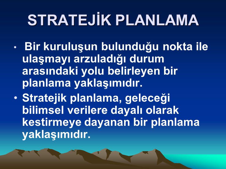 Stratejik Planlamanın Özellikleri Sonuçların planlanmasıdır: Girdilere değil, sonuçlara odaklanır.
