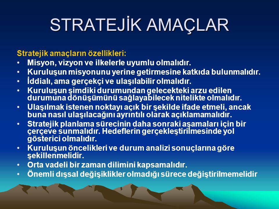 STRATEJİK AMAÇLAR Stratejik amaçların özellikleri: Misyon, vizyon ve ilkelerle uyumlu olmalıdır. Kuruluşun misyonunu yerine getirmesine katkıda bulunm