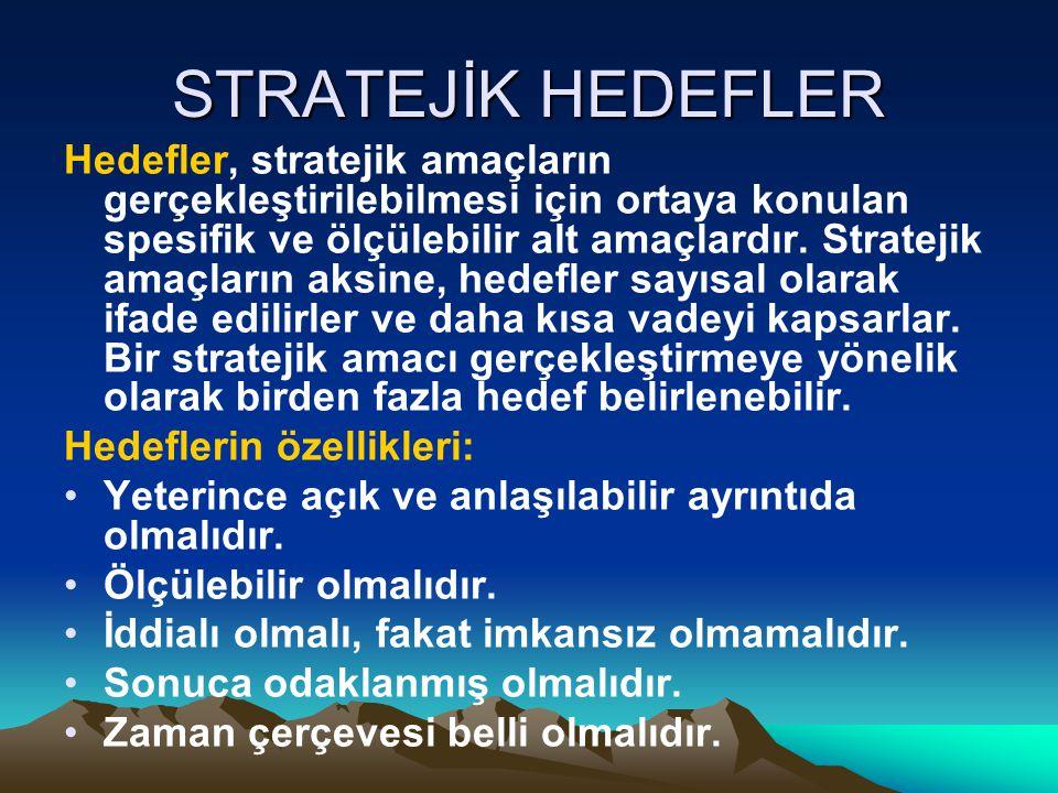 STRATEJİK HEDEFLER Hedefler, stratejik amaçların gerçekleştirilebilmesi için ortaya konulan spesifik ve ölçülebilir alt amaçlardır. Stratejik amaçları
