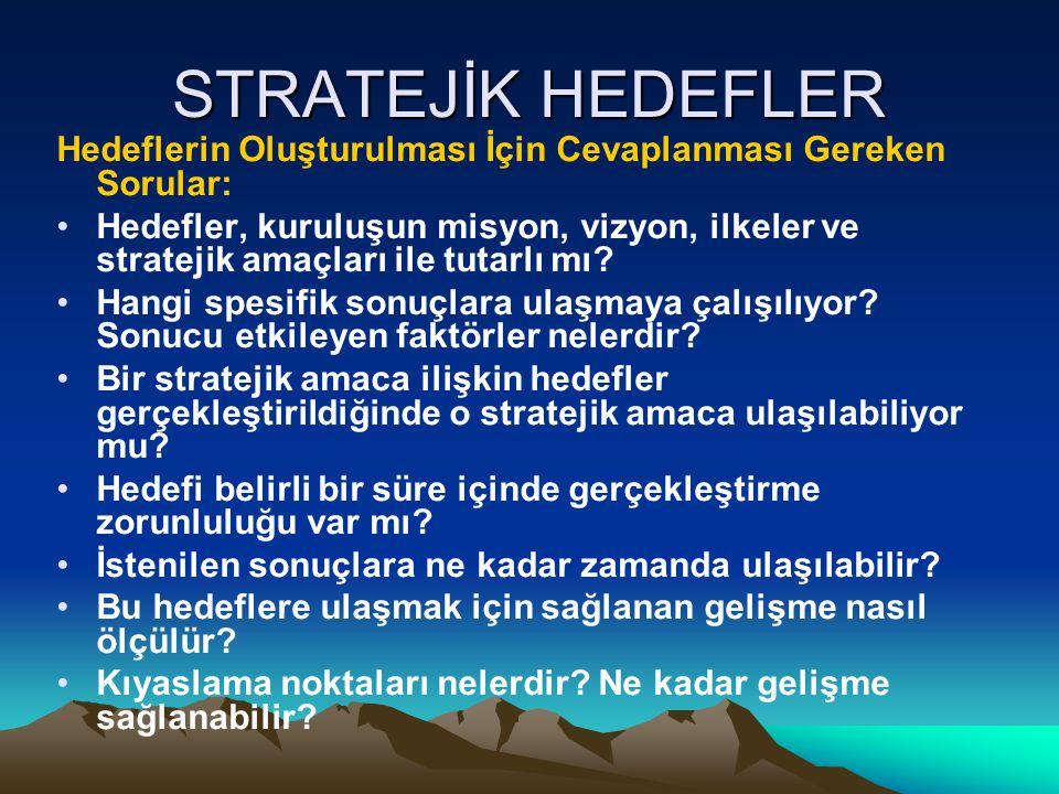 STRATEJİK HEDEFLER Hedeflerin Oluşturulması İçin Cevaplanması Gereken Sorular: Hedefler, kuruluşun misyon, vizyon, ilkeler ve stratejik amaçları ile t