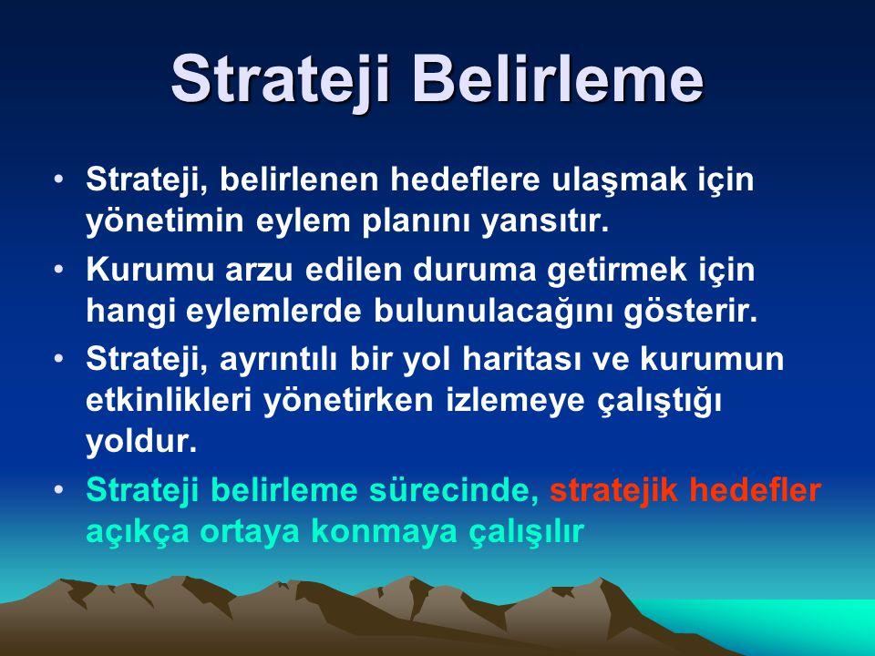 Strateji Belirleme Strateji, belirlenen hedeflere ulaşmak için yönetimin eylem planını yansıtır. Kurumu arzu edilen duruma getirmek için hangi eylemle