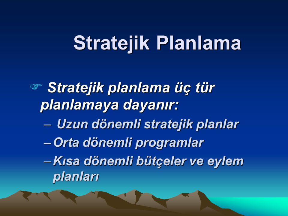 Stratejik Planlama Stratejik planlama üç tür planlamaya dayanır: F Stratejik planlama üç tür planlamaya dayanır: – Uzun dönemli stratejik planlar –Orta dönemli programlar –Kısa dönemli bütçeler ve eylem planları