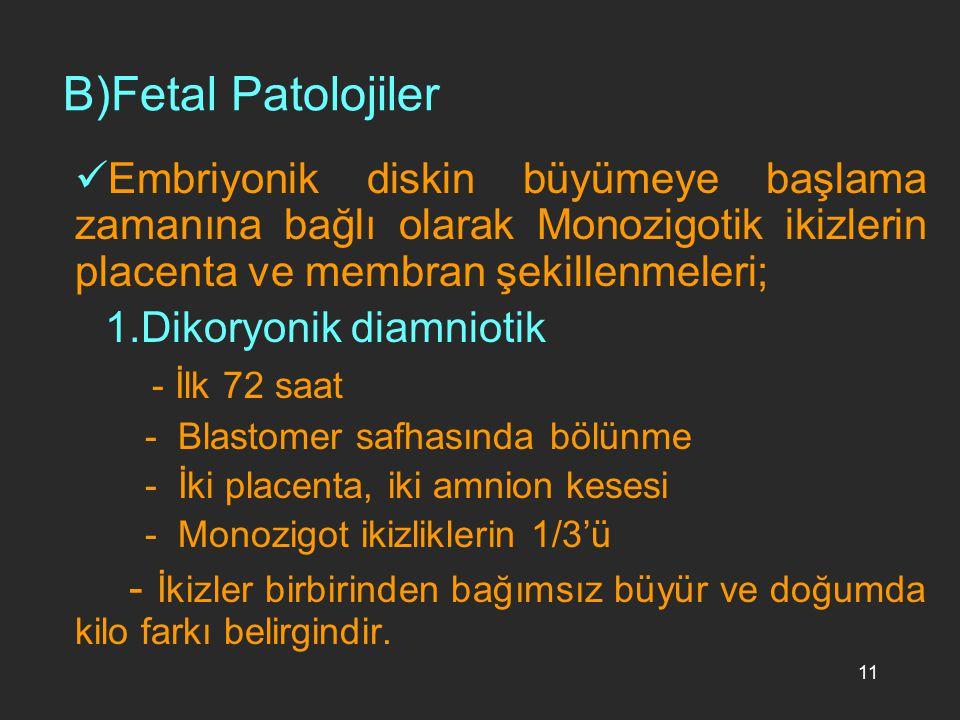 11 B)Fetal Patolojiler Embriyonik diskin büyümeye başlama zamanına bağlı olarak Monozigotik ikizlerin placenta ve membran şekillenmeleri; 1.Dikoryonik