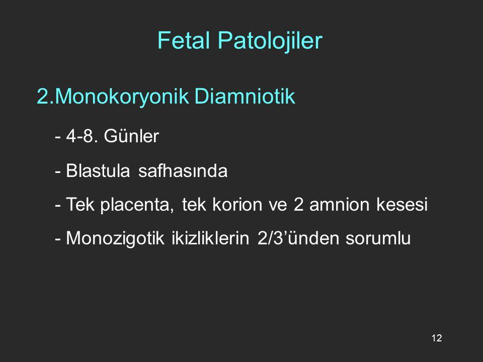 12 2.Monokoryonik Diamniotik - 4-8. Günler - Blastula safhasında - Tek placenta, tek korion ve 2 amnion kesesi - Monozigotik ikizliklerin 2/3'ünden so